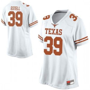 Women Texas Longhorns Montrell Estell #39 Replica White Football Jersey 409989-219