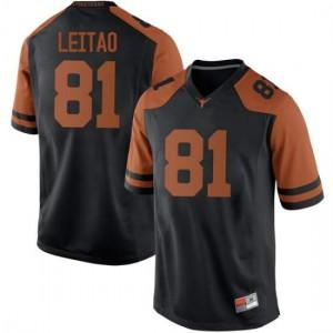 Men Texas Longhorns Reese Leitao #81 Replica Black Football Jersey 729467-366