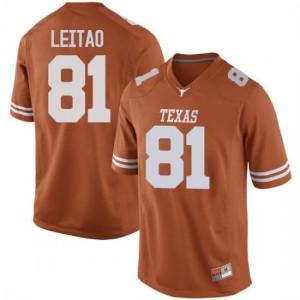 Men Texas Longhorns Reese Leitao #81 Replica Orange Football Jersey 411608-509