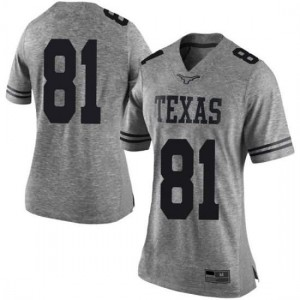 Women Texas Longhorns Reese Leitao #81 Limited Gray Football Jersey 506047-378