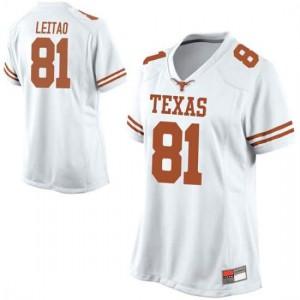 Women Texas Longhorns Reese Leitao #81 Replica White Football Jersey 143249-965