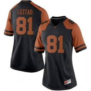 Women Texas Longhorns Reese Leitao #81 Replica Black Football Jersey 842550-683