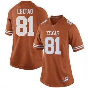Women Texas Longhorns Reese Leitao #81 Replica Orange Football Jersey 186850-379