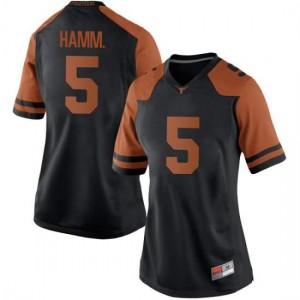Women Texas Longhorns Royce Hamm Jr. #5 Replica Black Football Jersey 417983-379