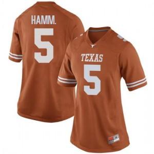 Women Texas Longhorns Royce Hamm Jr. #5 Replica Orange Football Jersey 831568-794