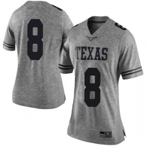 Women Texas Longhorns Ryan Bujcevski #8 Limited Gray Football Jersey 142967-540