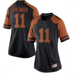 Women Texas Longhorns Sam Ehlinger #11 Replica Black Football Jersey 251334-567