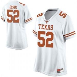 Women Texas Longhorns Samuel Cosmi #52 Replica White Football Jersey 759714-891
