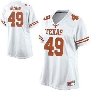 Women Texas Longhorns Ta'Quon Graham #49 Replica White Football Jersey 432297-397