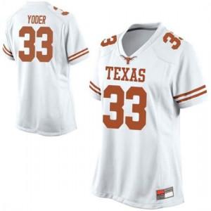 Women Texas Longhorns Tim Yoder #33 Replica White Football Jersey 576173-610