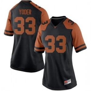 Women Texas Longhorns Tim Yoder #33 Replica Black Football Jersey 260617-892