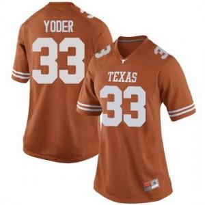 Women Texas Longhorns Tim Yoder #33 Replica Orange Football Jersey 212631-664