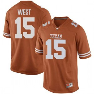 Men Texas Longhorns Travis West #15 Replica Orange Football Jersey 124575-754