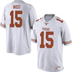 Men Texas Longhorns Travis West #15 Replica White Football Jersey 428542-924