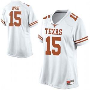 Women Texas Longhorns Travis West #15 Game White Football Jersey 568268-787