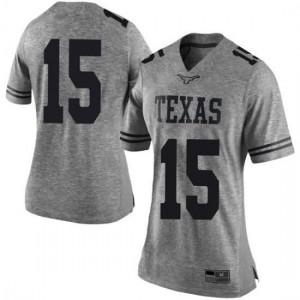 Women Texas Longhorns Travis West #15 Limited Gray Football Jersey 848677-270