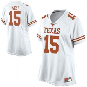 Women Texas Longhorns Travis West #15 Replica White Football Jersey 556070-775