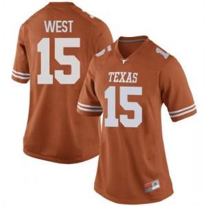 Women Texas Longhorns Travis West #15 Replica Orange Football Jersey 763335-513