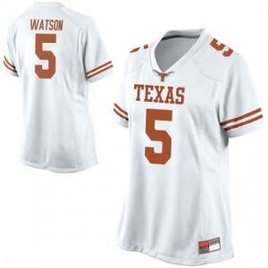 Women Texas Longhorns Tre Watson #5 Replica White Football Jersey 494700-727