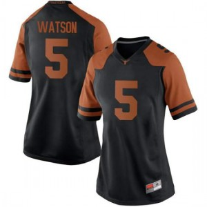 Women Texas Longhorns Tre Watson #5 Replica Black Football Jersey 494110-521