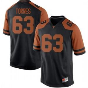 Men Texas Longhorns Troy Torres #63 Replica Black Football Jersey 411862-566