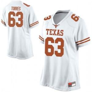 Women Texas Longhorns Troy Torres #63 Replica White Football Jersey 460372-238
