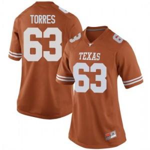 Women Texas Longhorns Troy Torres #63 Replica Orange Football Jersey 174316-944