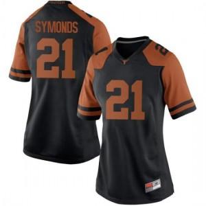 Women Texas Longhorns Turner Symonds #21 Replica Black Football Jersey 506108-265