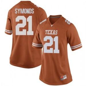 Women Texas Longhorns Turner Symonds #21 Replica Orange Football Jersey 287945-182